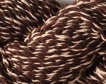 Imperial Stock Ranch Anna Chocolate Yarn Mill End US Organic 70% Wool 30 pcnt Cotton Big 3.5oz Hanks Aran 140 yds - Brown & Cream
