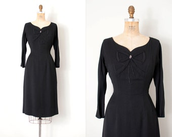 vintage 1950s dress / black wool 50s wiggle dress  / The Perfect Present