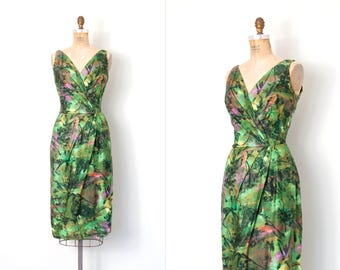 vintage 1950s dress | green abstract print 50s wiggle dress | medium m
