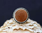 Fossilized Coral Ring - Rose and Taupe Coral - Sterling Silver - Hammered Silver - Double Band - Statement Ring - Cocktail Ring - Ocean