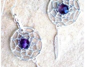 ON SALE Dreamcatcher earrings, PURPLE Dreams, Silver Amethyst Dream Catcher Earrings - silver or gold