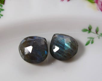 Matched Pair - LABRADORITE Faceted Heart Briolettes