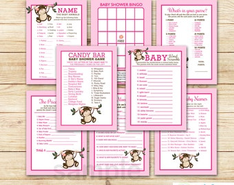 Pink Monkey Girl Baby Shower Games Package / 8 Printable Games /  Monkey Baby Shower, INSTANT DOWNLOAD bs-077
