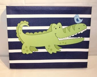 Alligator Nursery Canvas 11x14 Gallery Wrap - IN STOCK Ready to Ship / last one