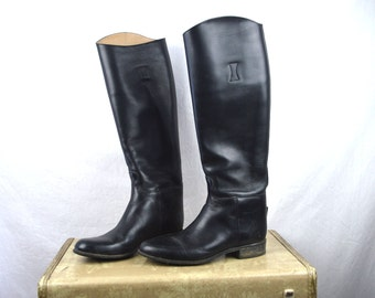 Vintage Tall Black Equestrian Riding Boots  - Womens Size 8 1/2