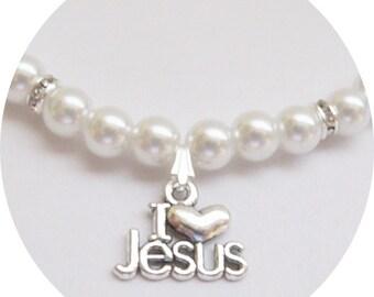 Girls Christian Jewelry, I Love Jesus Necklace, Kids Jewelry, Pearl Necklace, Flower Girl Necklace, Sunday School Jewelry, Jesus Necklace