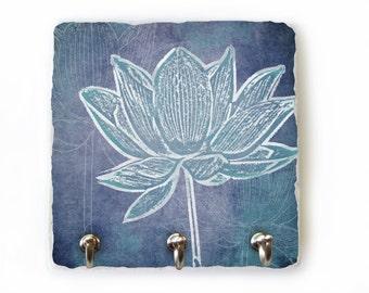 Lotus Key Rack, Blue Wall decor, Decorative Tile Art, Lotus Art, Wall Key Holder, Blue Key Hook, Jewelry Oraganizer, Flower Wall Hooks (78)