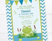 Frog Birthday Invitation, Frog Birthday, First Birthday, Princess and the Frog, Printable Frog Party, Birthday Party, DIGITAL PRINTABLE FILE