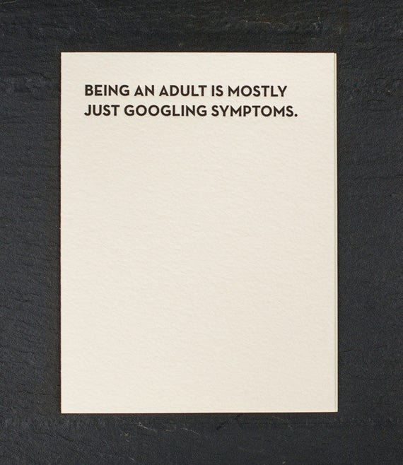 symptoms. letterpress card. #931