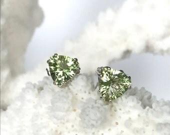 lime green Mystic topaz trillion stud earrings