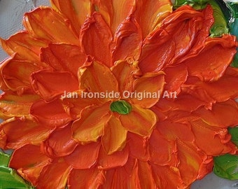 Home Decor , Painting Original , Orange Floral on Canvas , palette knife , wall decor, gift