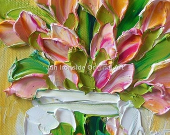 Tulip Painting, oil painting , impressionist, Amber and Pink Tulips, mothers day