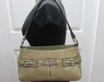 CLEARANCE--Vintage Etienne Aigner Buckle Zip Top Genuine Leather Dark Beige & Light Green Satchel Shoulder Purse