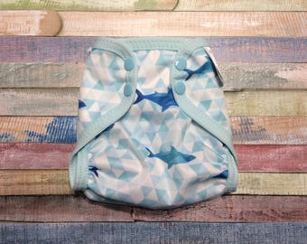 Geometric Shark Polyester PUL Cloth Diaper Cover With Aplix Hook & Loop Or Snaps You Pick Size XS/Newborn, Small, Medium, Large, or One Size