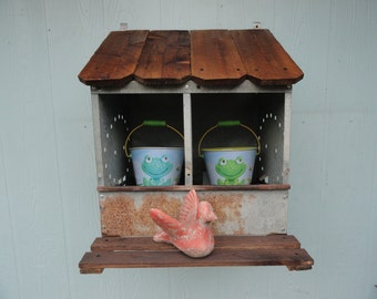 Vintage Chicken Roost Box Coop Nest Bin Garden Wall Decor Repurposed Display Organizer