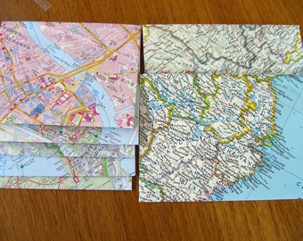 Thailand and China map envelopes from recycled vintage maps in greens, pinks and blues.   5 small and 2 large travel and mail art.