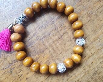 boho bead bracelet, tassel bracelet, boho tassel bracelet, wooden bead bracelet, yoga bracelet, pink tassel bracelet, bohemian bracelet
