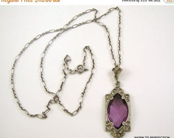 35% Off Sale Pot Metal Art Deco Pendant with Purple Glass and Rhinestones