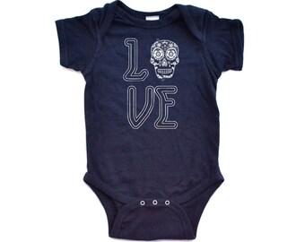 Baby Bodysuit Love Sugar Skull Sugarskull One Piece Shower Gift Present Cotton Unisex Newborn 6 12 18 Months Day of Dead Dia De Los Muertos