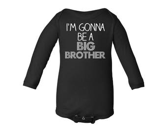 Apericots I'm Gonna Be a Big Brother Long Sleeve Baby Bodysuit