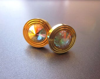 Vintage Swarovski Rivoli Crystal Cuff Links Rainbow Rhinestones