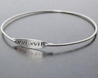 Roman Numeral Bracelet, Roman Jewelry Theme, Wedding Bracelet, Wedding Jewelry, Unique Wedding Gift Idea, Date Jewelry, Date Bracelet