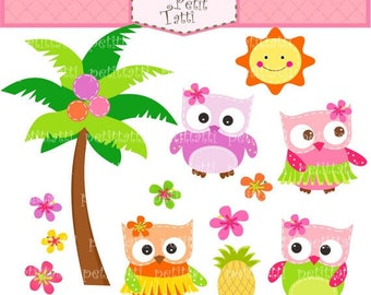 ON SALE owl clip art - Luau parties scrapbooking clip art, instant download digital clip art, Aloha owls clip art, Hawaiian clipart