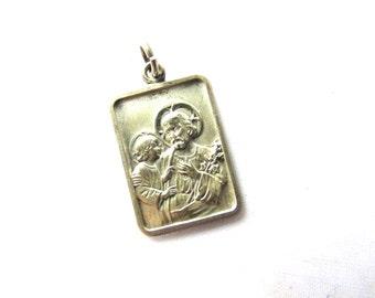 St Josephs Medal Sterling SilverReligious Saints Medal Assemblage Catholic Christian