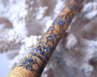 "The ""Princess Eve"" Fancy Leaves Hair Stick Featuring Canary Wood inlaid with Blue Fresh Water Pearls"