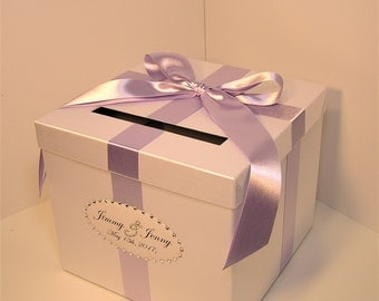 Wedding Card Box White  and Lavender Gift Card Box Money Box  Holder--Customize your color