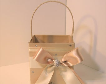 Wedding Flower Girl Basket Champagne and Ivory -Customize