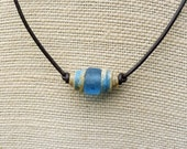 Blue Recycled Glass Unisex Necklace - Blue Recycled Glass Beads, Brown Leather Necklace