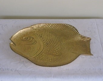Large Gold Fish Plate, Serving Platter or Decorative Wall Hanging Decor, Listing is for One, 4 Available
