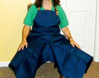 Pottery Apron Split Leg Panel Blue Oil Cloth Rainbow Ties