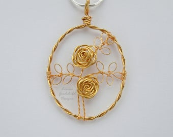 Gold Rose necklace, gold rose pendant, wire rose pendant, wire rose necklace, gold rose, copper anniversary, gold roses, wire roses