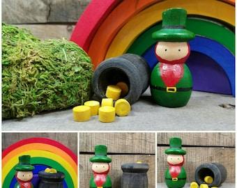 St. Patrick's Day, leprechaun, pot o' gold, end of the rainbow, wooden leprechaun, natural decor, waldorf leprechaun
