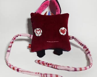 Square Dude with ears Plush Toy, in Upcycled red velvet and heart pocket