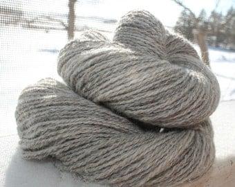 Handspun Yarn CVM Wool/Angora 2-ply fingering wt. silver gray plus Free Pattern