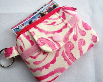 Zipper Wallet Pouch Key Chain Kumari garden Marala Pink Card holder -