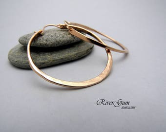 Large Rose Gold Hoop Earrings, 12 Gauge Gold Filled Wire, Pink Gold Hoop Earrings, Rose Gold Earrings, Large Hoop Earrings, Hammered Hoops