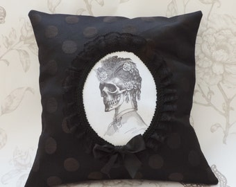 Lady skull victorian gothic steampunk cameo pillow cushion black dots macabre halloween home decor