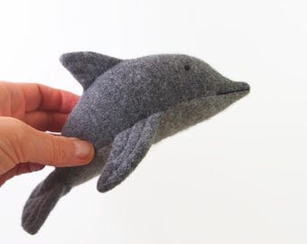 stuffed animal, wool felt toy,  waldorf dolphin,  waldorf toy,  eco friendly toy, all natural toy, toy fish