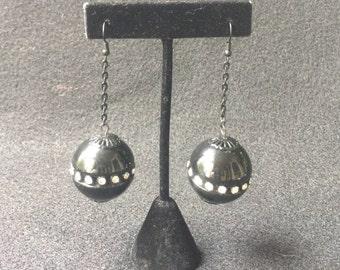 Mod Space Age Rhinestone Black Ball Vintage Earrings