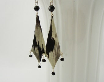 Unique Bridesmaid Earrings, Fiber Art Textile Jewelry, Black and Gray