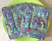 Two Pot Holders Hot Pads - Quilted - Winter Forest Woods Deer Snow Stars - Insulated and Cotton Batting - Brown Black Green Red White