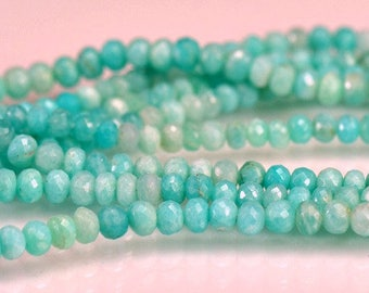 Amazonite Faceted Rondelles AAA Amazonite Gemstone Beads 3.30-4.30mm