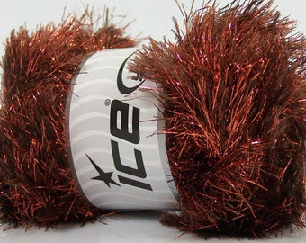 ICE YARNS eyelash dazzle brown copper metallic lurex 1 skein 100gr polyester fancy bulky shimmering knitting crochhet supplies 42257