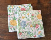 Vintage Pillowcases, Pair of Matching Pillowcases, Retro 1980s Floral Bedding, Pink, Yellow, Blues, Greens, Percale