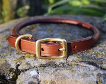 Rolled Leather Dog Collar - size S