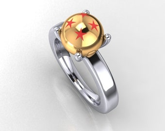 Large 9mm Powerball engagement ring in 14k yellow and white gold